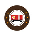 color circular emblem with fuel trailer vector image