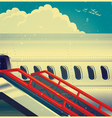 Jet airliner on retro poster vector image