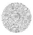 Line art hand drawn doodle cartoon set of vector image