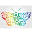 Rainbow flower butterfly vector image