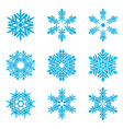 set-of-blue-snowflakes-on-white vector image