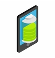 Smartphone with green full battery vector image