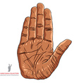 Stop hand sign African ethnicity detailed vector image