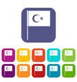 turkish flag icons set flat vector image