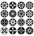 Floral ornament tattoo set Flowers in star aster vector image