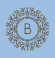 monogram b logo and text badge emblem line art vector image