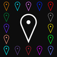 map poiner icon sign Lots of colorful symbols for vector image