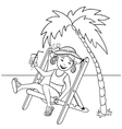 Little cartoon girl sitting in chaise-longue vector image