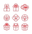 Gift boxes with bows linear icons set vector image vector image