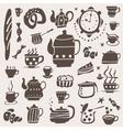Tea cups doodles set vector image