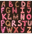 Funny alphabet made of patches for scrapbooking vector image