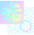 geometric poster monstera memphis in vaporwave vector image