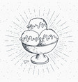 ice cream sketch vintage label hand drawn grunge vector image