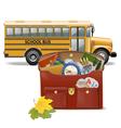 Schoolbag and Bus vector image