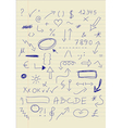 Set of doodle signs vector image