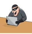 Concept of hacking Cartoon thief trying to hack vector image