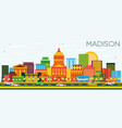madison skyline with color buildings and blue sky vector image
