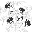 Black and white seamless pattern with flowers-06 vector image
