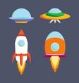 set of ufo spaceships vector image