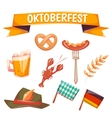 Set with oktoberfest celebration symbols vector image