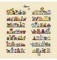 Shelves with baby icons for your design vector image