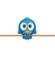 Blue bird with worm vector image vector image