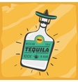Vintage poster with a tequila bottle vector image