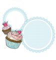 A round stationery with two cupcakes vector image