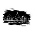 montgomery skyline silhouette hand drawn sketch vector image