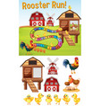 boardgame template with chickens on farmyard vector image vector image