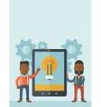 Two businessmen holding big screen tablet vector image vector image