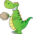 Green t rex holding a boulder vector image