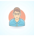Nerd student hipster smart guy icon vector image