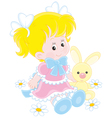 Girl and Bunny vector image