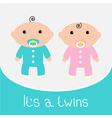 Baby shower card Its a twins boy and girl vector image