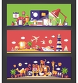 Flat design banners set School travel and wild vector image
