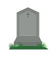 Grey gravestone with cross vector image