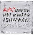 grunge alphabet Letters and numbers vector image