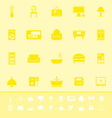 Home furniture color icons on yellow background vector image