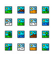 landscapes icons set vector image