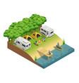 recreational vehicles at lake isometri vector image