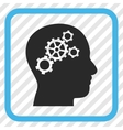 Brain Gears Icon In a Frame vector image