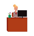 young pretty businesswoman secretary working on vector image