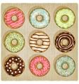 donuts retro striped background vector image