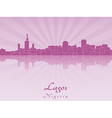 Lagos skyline in radiant orchid vector image vector image