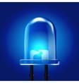 Blue luminous bright Light Emitting Diode vector image
