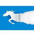 Horse silhouette ripping paper vector image