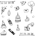 Set for kids party doodle vector image