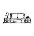 bed with nightstand blurred silhouette on white vector image
