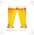 Beer splashing two glasses vector image
